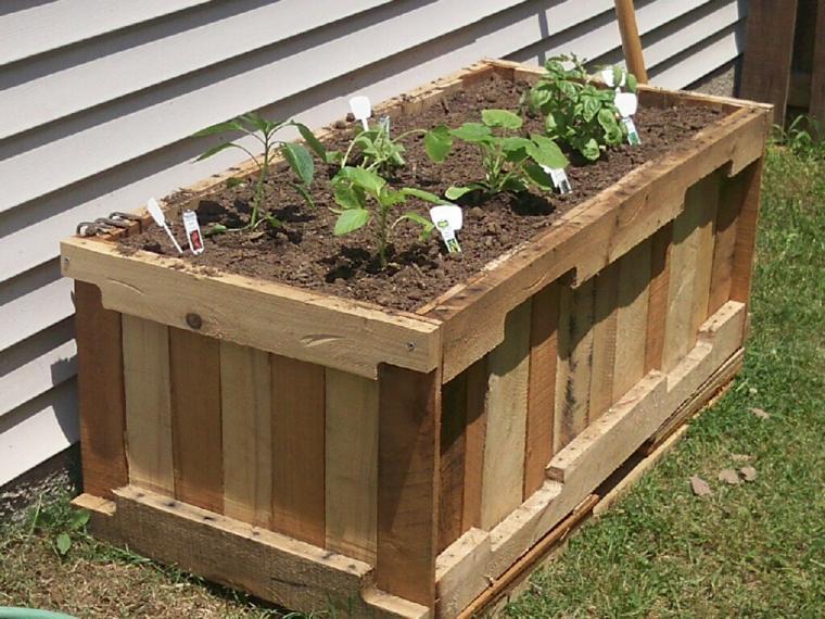 diseño jardinera madera rectangilar palet