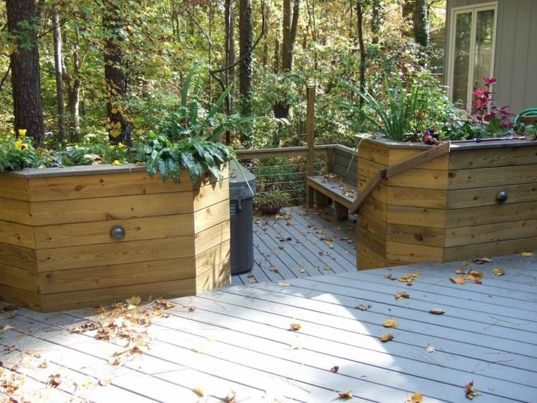 diseño jardines elementos madera