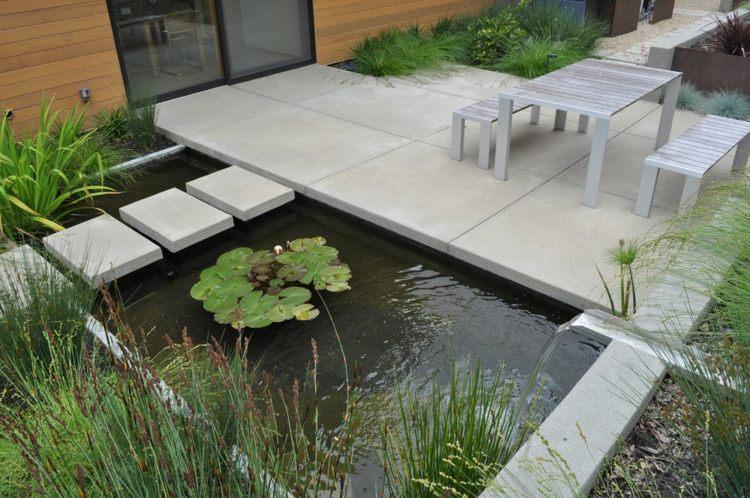 diseño moderno jardín éstanque