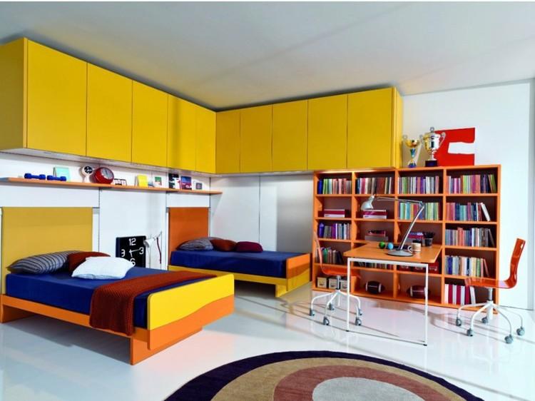 cuarto moderno muebles amarillos