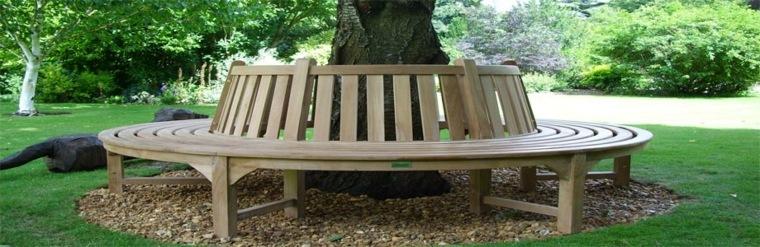 diseño banco redondo madera