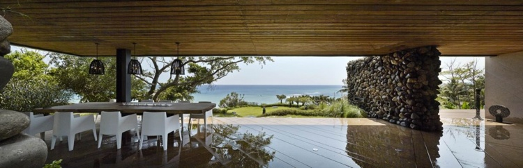 diseño terraza porche piedras muro