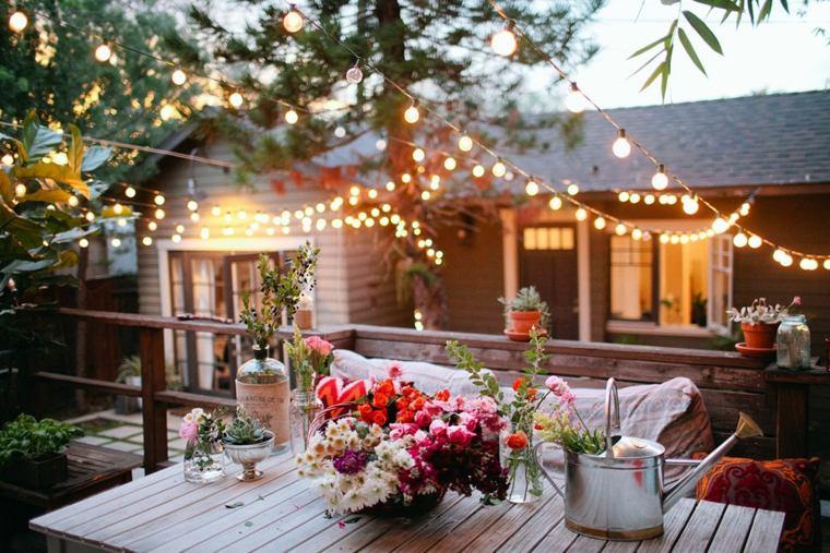 diseño terraza mesa comedor romántica
