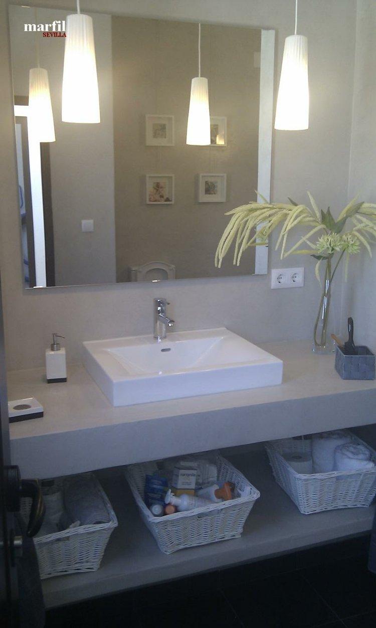 diseños baños pequeños concreto cemento