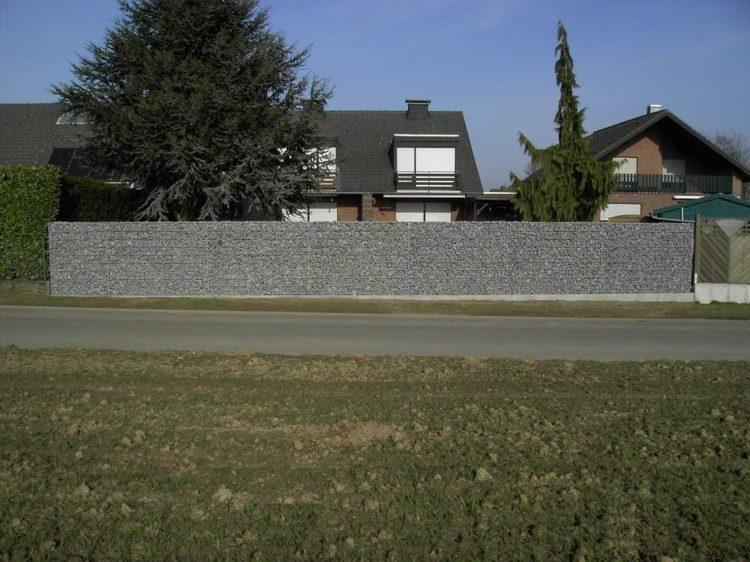 valla muro piedras jardín