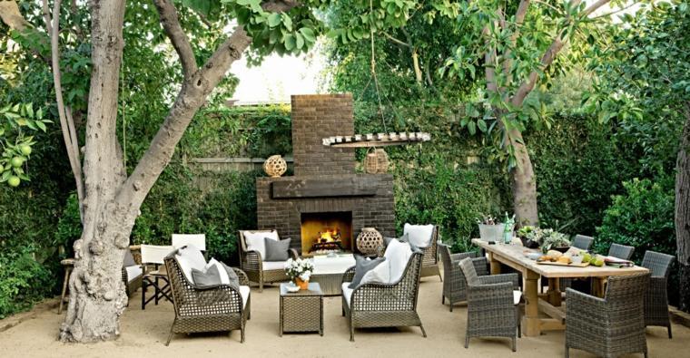 diseño de jardines chimenea muebles rattan ideas