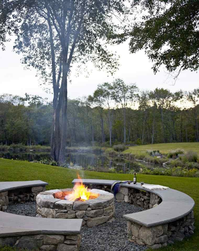 diseño de jardines lugar fuego forma circular jardin pozo ideas
