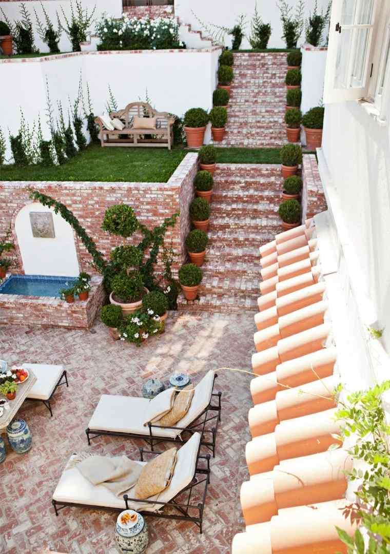 diseno de jardines tumbonas escaleras fuente ideas