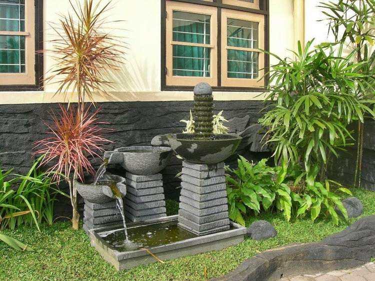 distintas fuentes originales jardin moderno plantas ideas