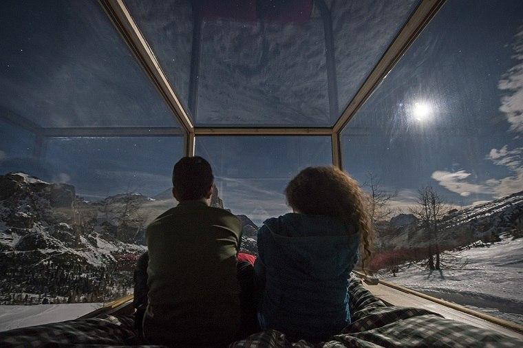 dormir bajo estrellas cristales cabina ideas
