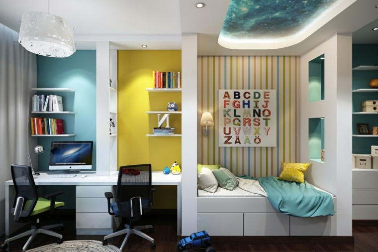 dormitorio cama escritorio pared amarillo azul ideas