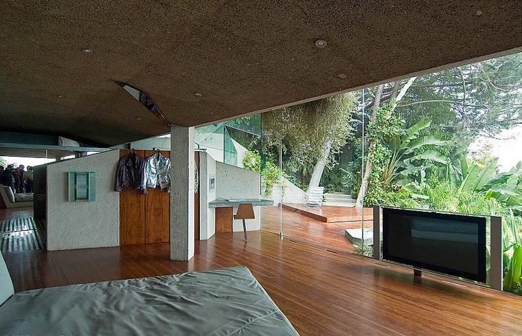 dormitorio casa colina suelo madera ideas