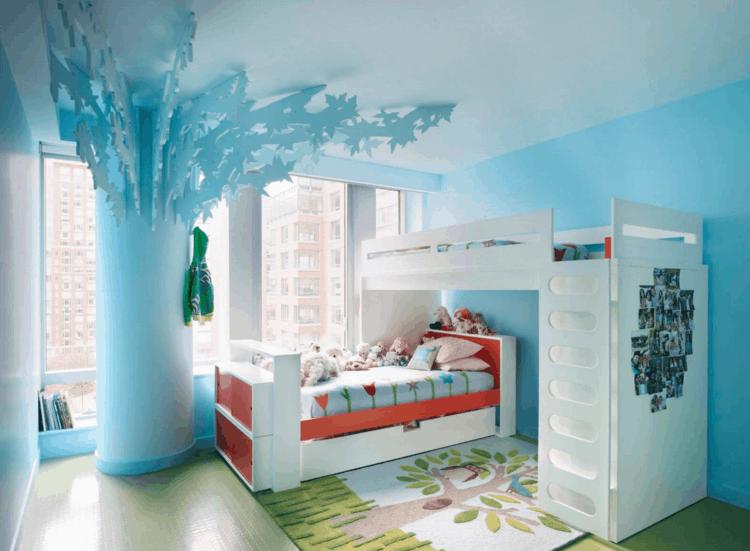dormitorio diseño moderno celeste infantil