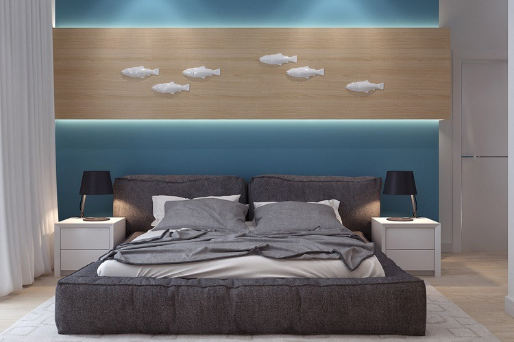 dormitorio-pared-azul-estilo-diseno-moderno