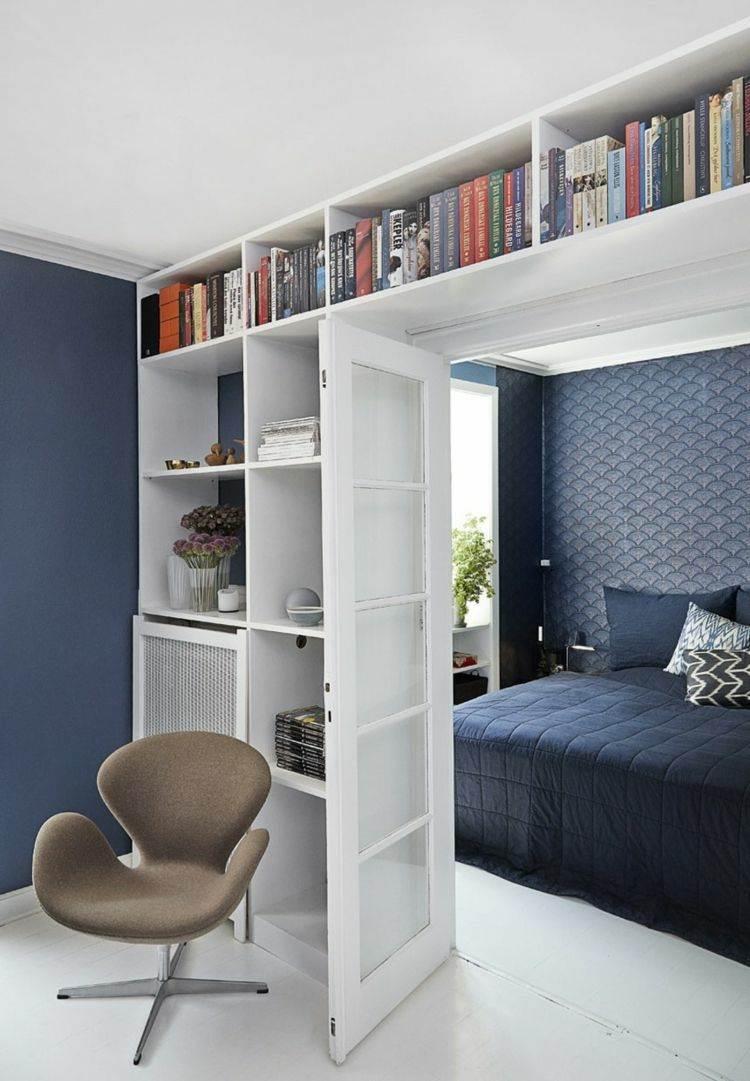 dormitorio de color azul