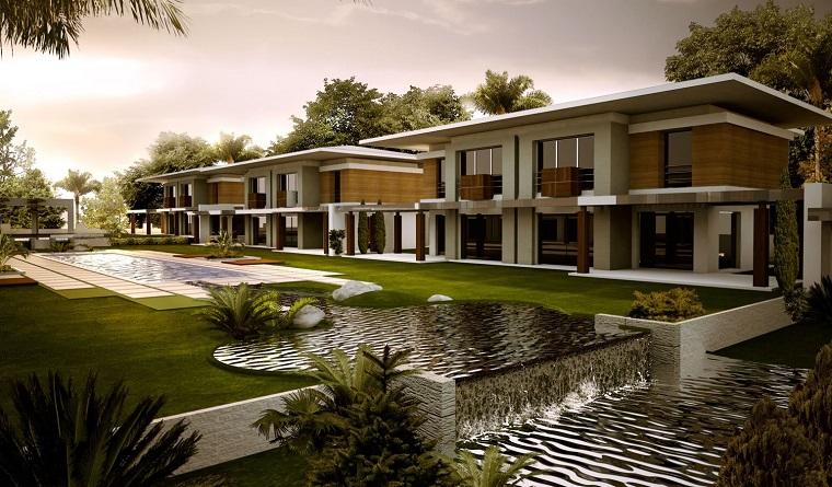 agua jardin moderno amplio piscina caidas ideas