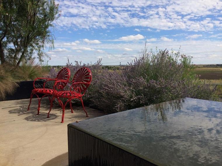 agua jardin moderno estanque acero ideas