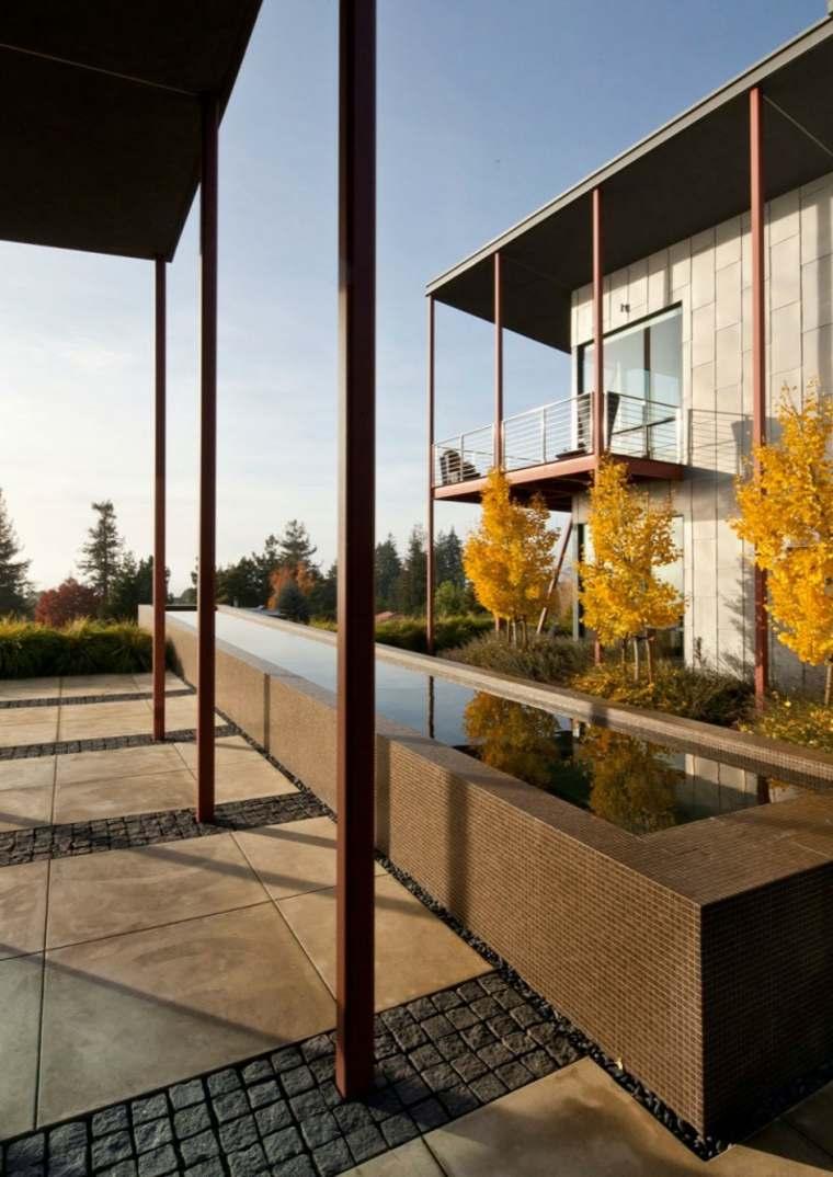 agua jardin moderno estanque rectangular ideas