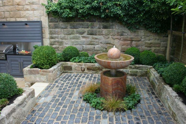 el agua jardin moderno fuente centro atencion ideas