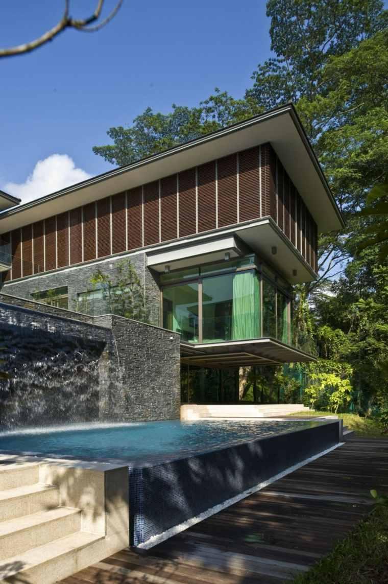 el agua jardin moderno pared piedra caida agua ideas