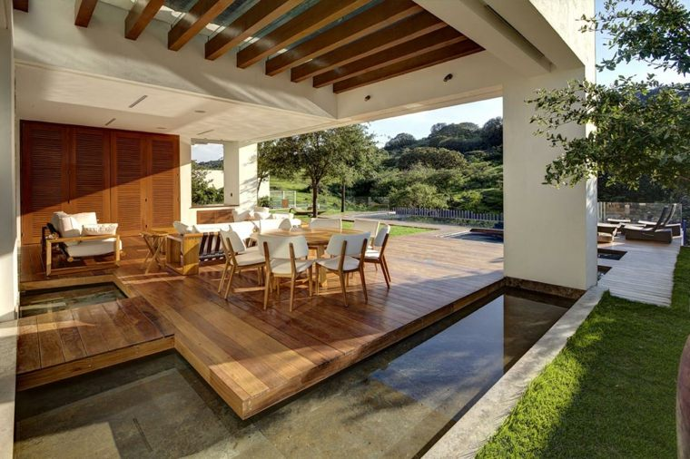 el agua jardin moderno pergola lugar comidas ideas