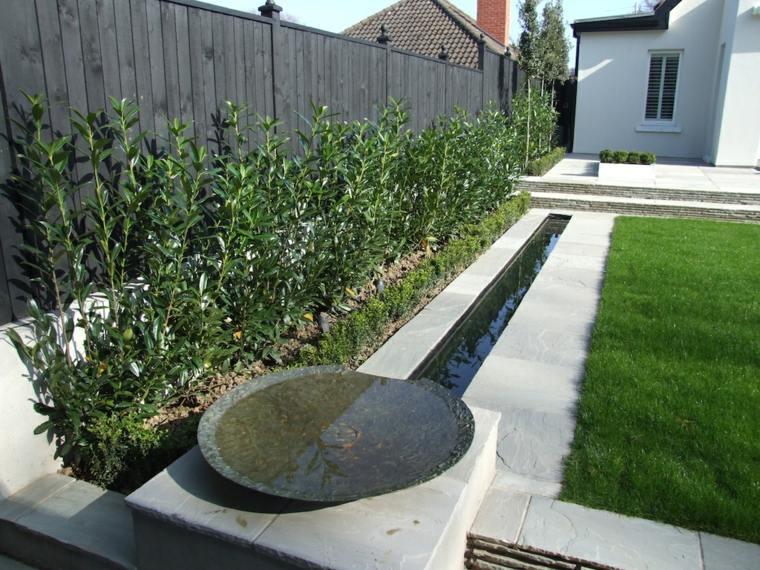 el agua jardin moderno plato acero arboles ideas
