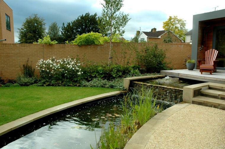 el agua jardin moderno terraza riachuelo ideas