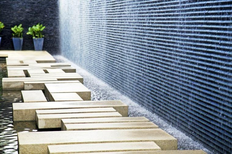 elementos minimalistas jardin contemporraneo agua ideas