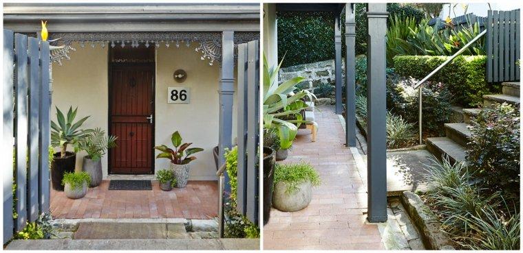 entrada jardin banco plantas opciones ideas