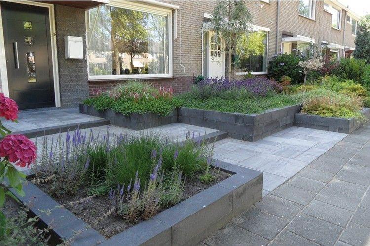 entradas jardines bloques salones grises