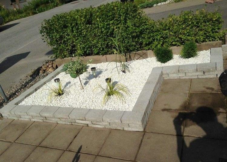 entradas jardines gravas blanco bloques sombra
