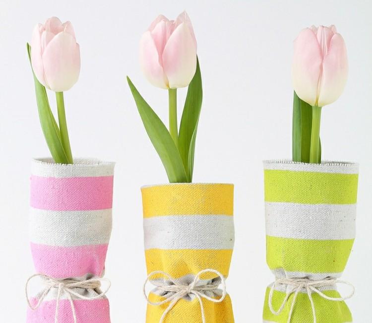 envolver jarrones telas colores