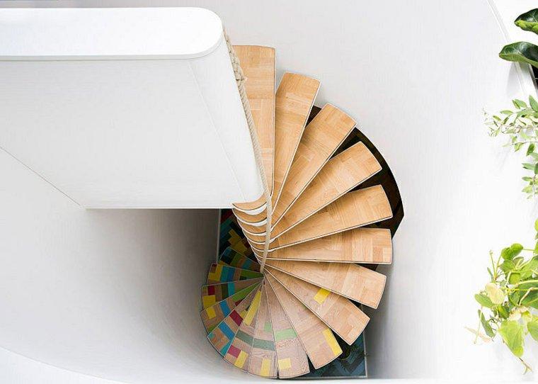 escalera caracol madera pintada ideas