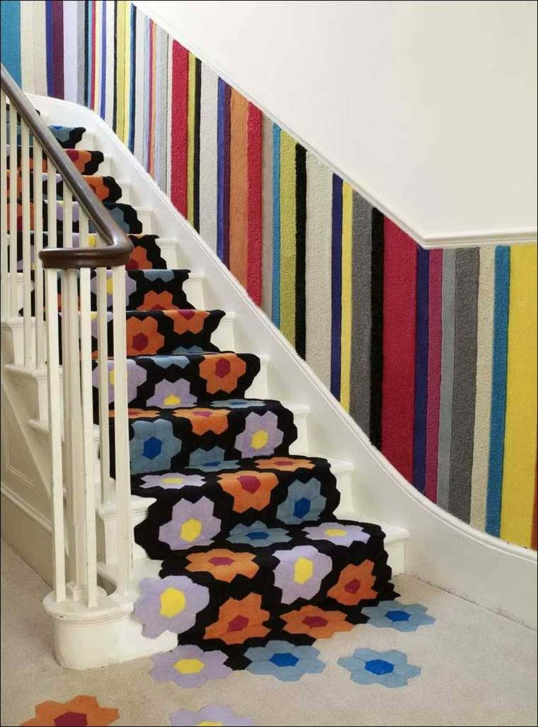 escaleras contemporaneas flores pared colores ideas