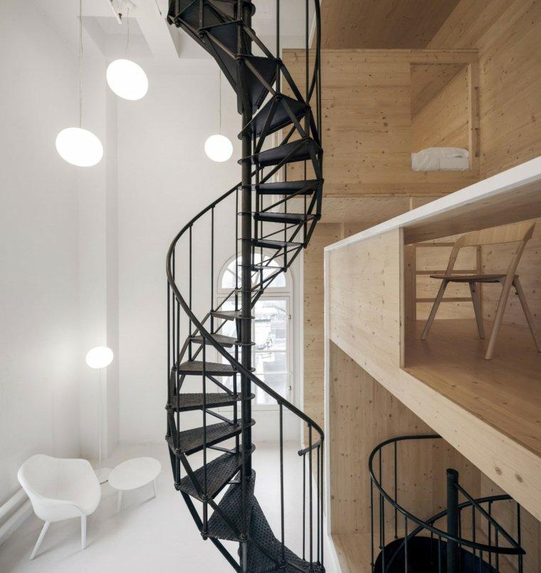 escaleras de interior caracol acero negro ideas