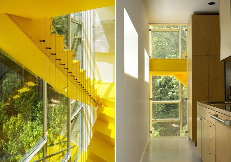 escaleras de interior color amarillo ideas