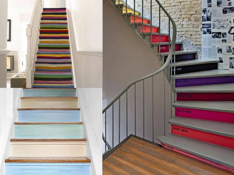 escaleras interior dos opciones escalones colores ideas