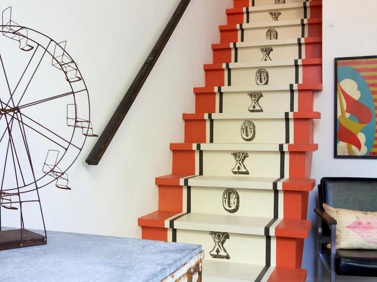 escaleras interior letras escalones ideas