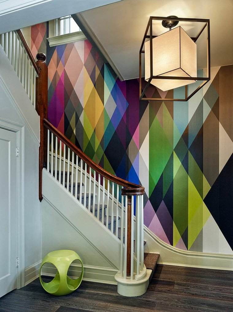 escaleras interior pared colorida ideas
