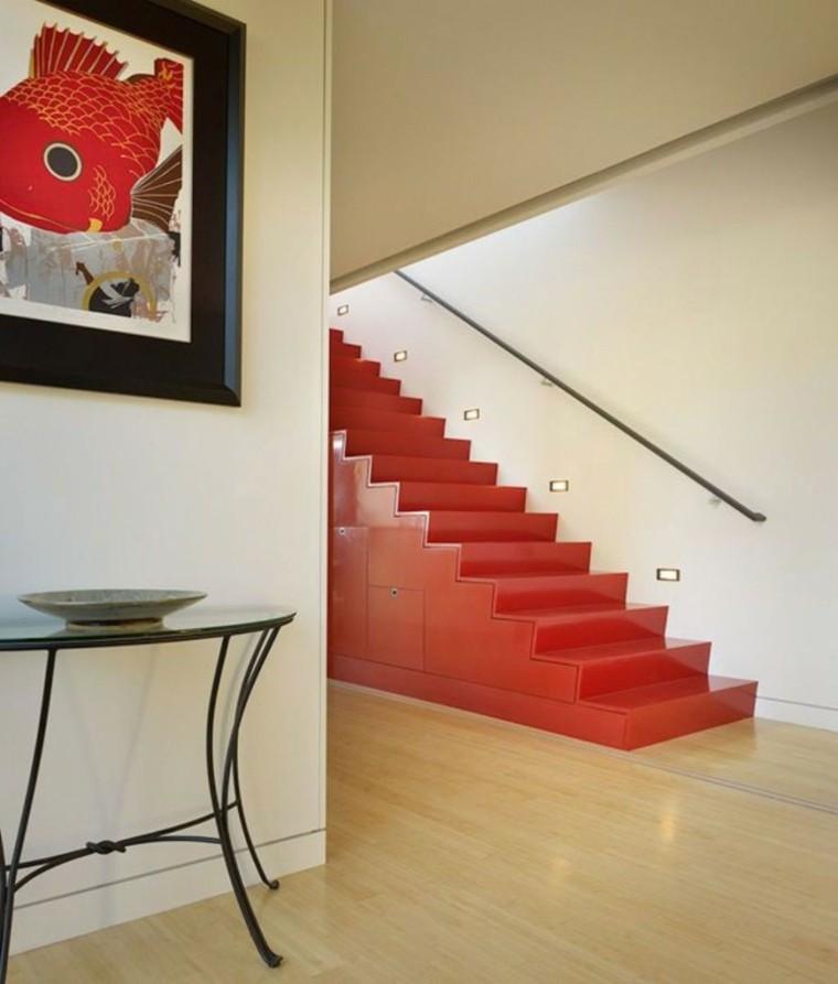 escaleras interior rojos suelo madera ideas