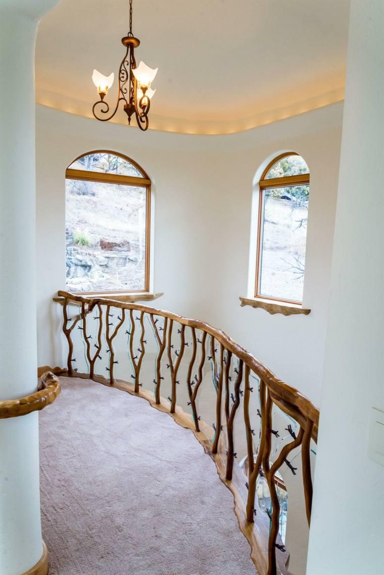 escaleras interior diseño barandilla madera