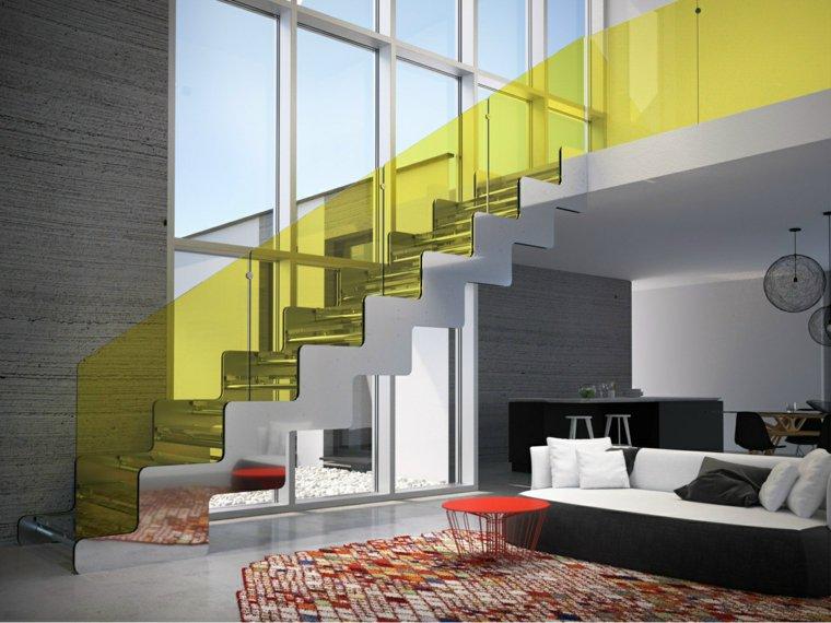 escaleras opciones casa moderna barandislla amarilla ideas
