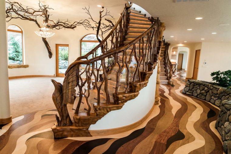 escaleras interior diseño madera