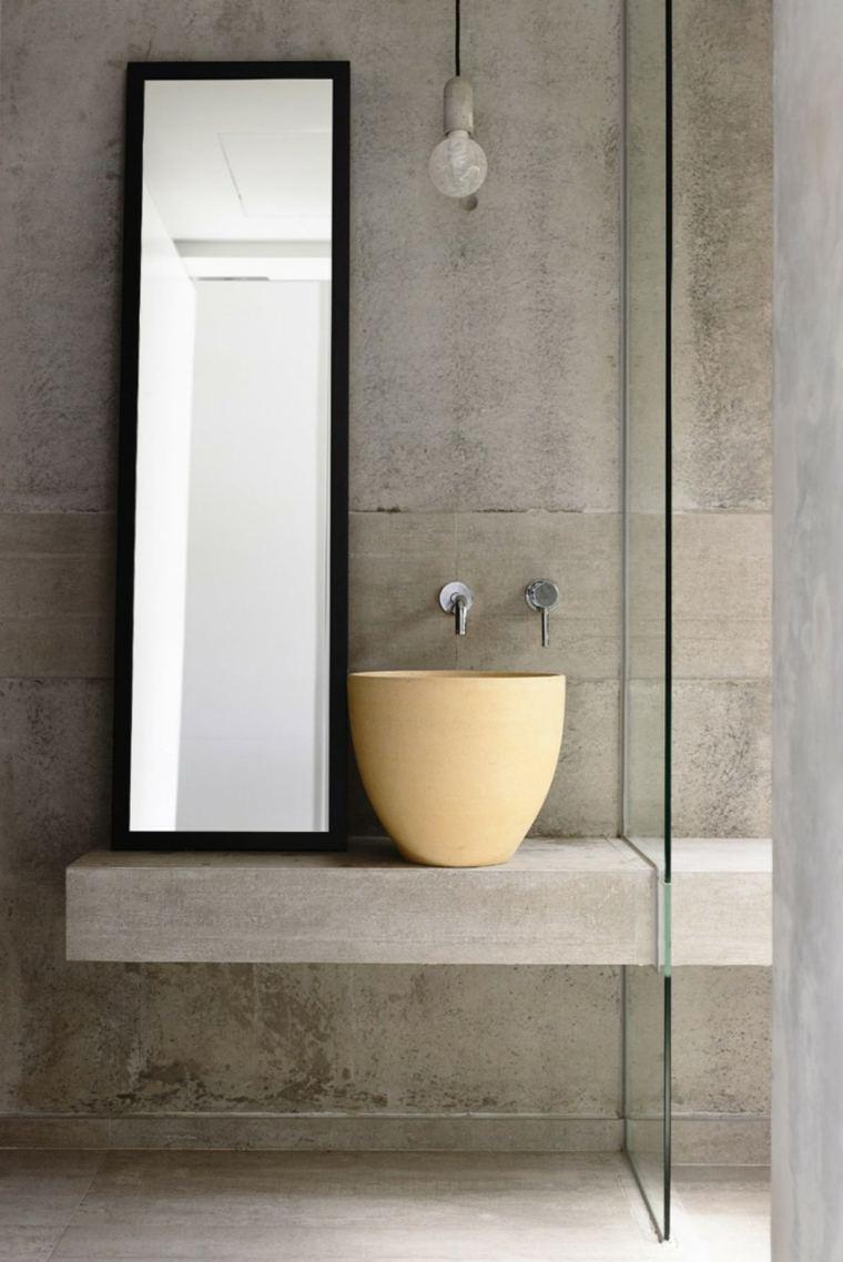 efectos opticos pared hormigon bano lavabo ideas