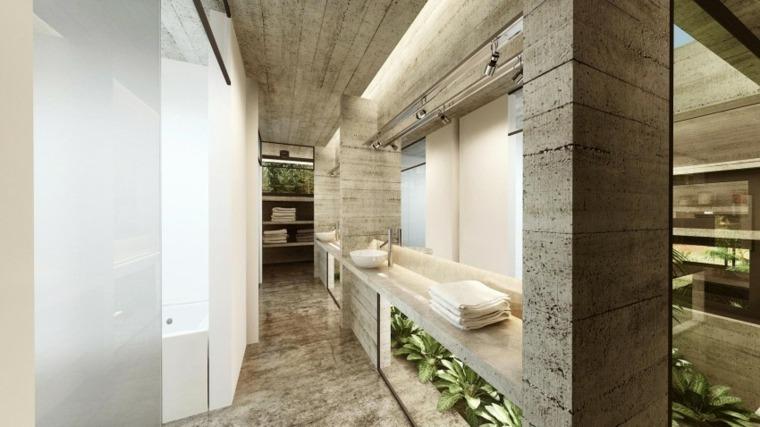 efectos opticos pared hormigon bano lavabos ideas
