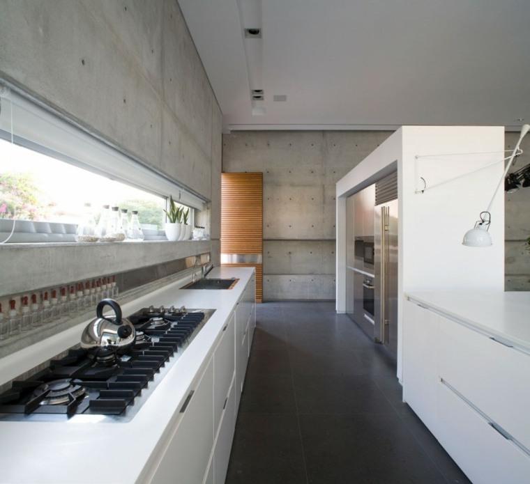efectos opticos pared hormigon cocina muebles blancos ideas