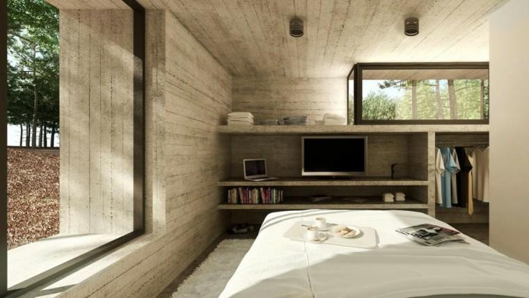 efecto optico pared hormigon dormitorio estrecho ideas