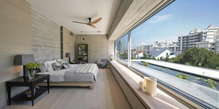 efecto optico pared hormigon dormitorio luminoso ideas