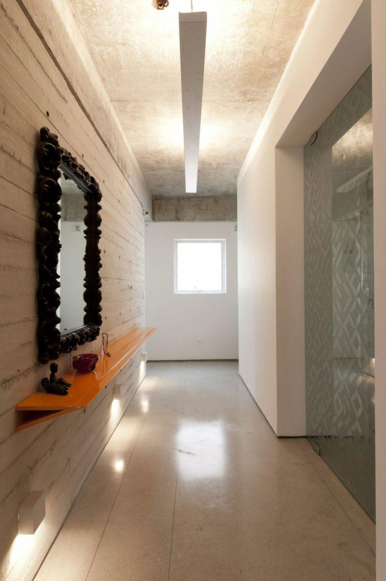 esfecto optico pared hormigon pasillo espejo ideas
