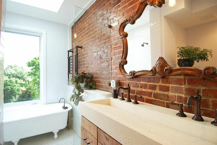 espejo precioso bano moderno pared ladrillo ideas